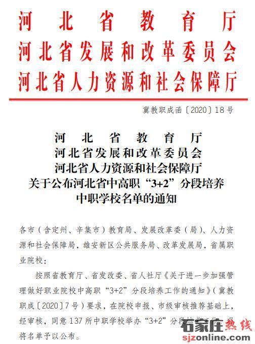 2020年河北省3+2学校名单