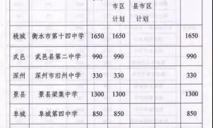 2019衡水高中招生计划